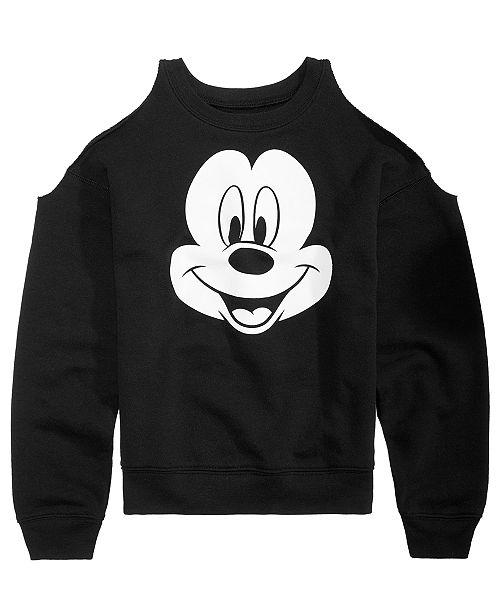 edd67c72 Disney Big Girls Mickey Mouse Cold Shoulder Sweatshirt & Reviews ...