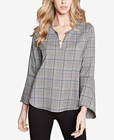 Karen Kane Plaid Tulip-Sleeve Top