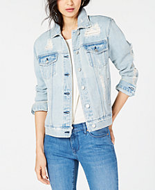 Kendall + Kylie Oversized Ripped Denim Trucker Jacket