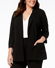 Nine West Plus Size Notch-Collar Jacket