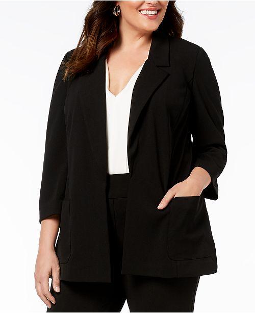 018fca3e60e Nine West Plus Size Notch-Collar Jacket   Reviews - Jackets ...