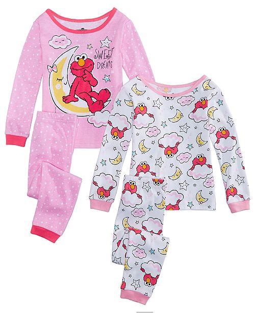 cf3ac51d43 Sesame Street Toddler Girls 4-Pc. Elmo Cotton Pajamas Set - Pajamas ...