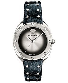 Versace Women's Swiss Shadov Black Elaphe Leather Strap Watch 38mm