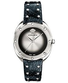 Versace Women's Swiss Shadov Black Elaphe Leather Strap Watch 38mm