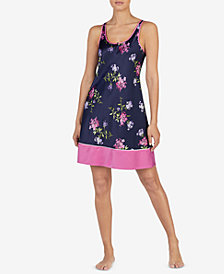 Lauren Ralph Lauren Mixed-Print Satin Sleeveless Chemise