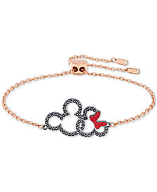 Swarovski Rose Gold-Tone Crystal Mickey & Minnie Mouse Slider Bracelet