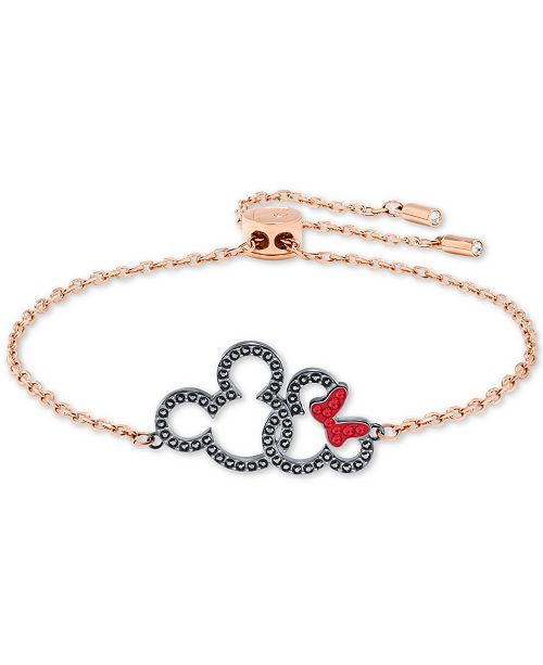 6a17f4031 ... Swarovski Rose Gold-Tone Crystal Mickey   Minnie Mouse Slider Bracelet  ...