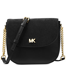 MICHAEL Michael Kors Half Dome Suede-Trim Leather Crossbody