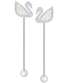 Swarovski Silver-Tone Crystal & Imitation Pearl Iconic Swan Linear Drop Earrings