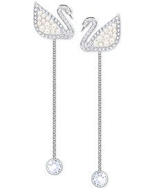 Swarovski Silver-Tone Crystal & Imitation Pearl Iconic Swan Linear Drop Earrings