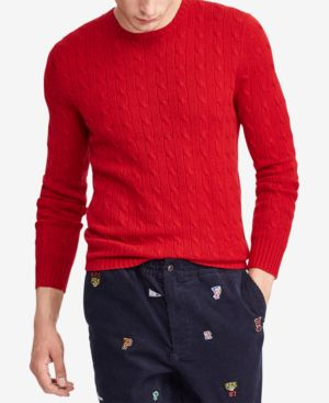 Mens Cable Knit Cashmere Sweater In Carriage Red