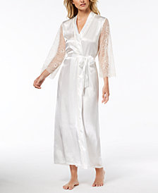 Linea Donatella Keepsake Long Satin Lace-Trim Wrap Robe
