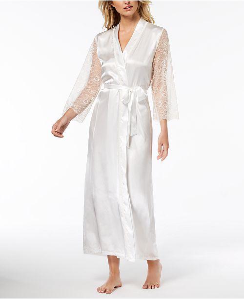 5a13caa00a ... Linea Donatella Keepsake Long Satin Lace-Trim Wrap Robe ...