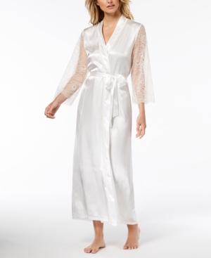Keepsake Long Satin Lace-Trim Wrap Robe