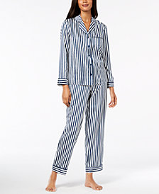 Alfani Satin Notch Collar Pajama Set, Created for Macy's