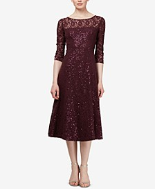 3/4-Sleeve Sequin Lace Dress