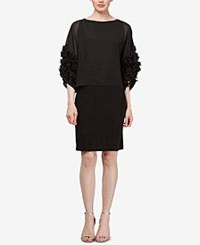 SL Fashions Rosette Chiffon Dress