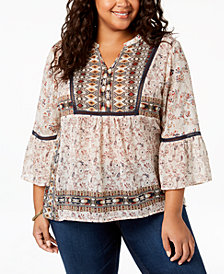 Style & Co Plus Size Mixed-Print Peasant Blouse, Created for Macy's