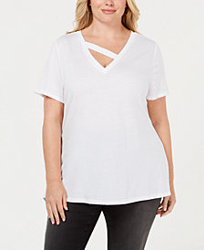 I.N.C. Plus Size Strap-Neck T-Shirt, Created for Macy's