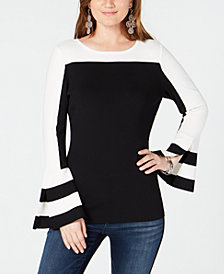 I.N.C. Petite Colorblock Bell Sleeve Sweater, Created for Macy's