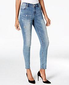 I.N.C. Petite Flower Rhinestone Skinny Jeans, Created for Macy's