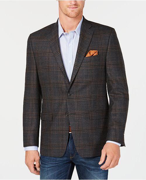 3032c9460d0 ... Lauren Ralph Lauren Men s Classic-Fit UltraFlex Stretch Gray Brown  Check Wool Sport Coat ...