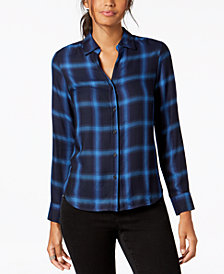 I.N.C. Plaid Button-Front Shirt, Created for Macy's