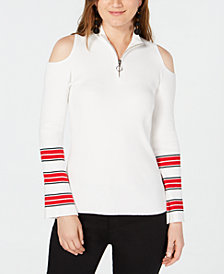 I.N.C. Zip-Front Cold-Shoulder Sweater, Created for Macy's
