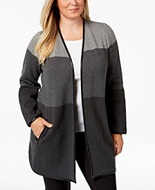 Charter Club Plus Size Cotton Colorblock Cardigan Sweater, Created for Macy's