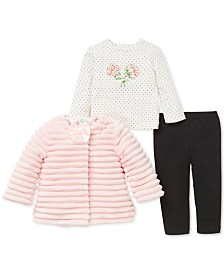 Little Me Baby Girls 3-Pc. Faux Fur Jacket, Top & Leggings Set