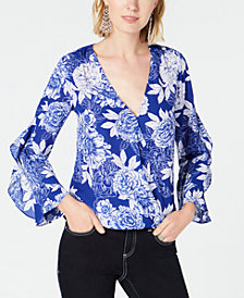 I.N.C. Floral-Print Surplice Top, Created for Macy's