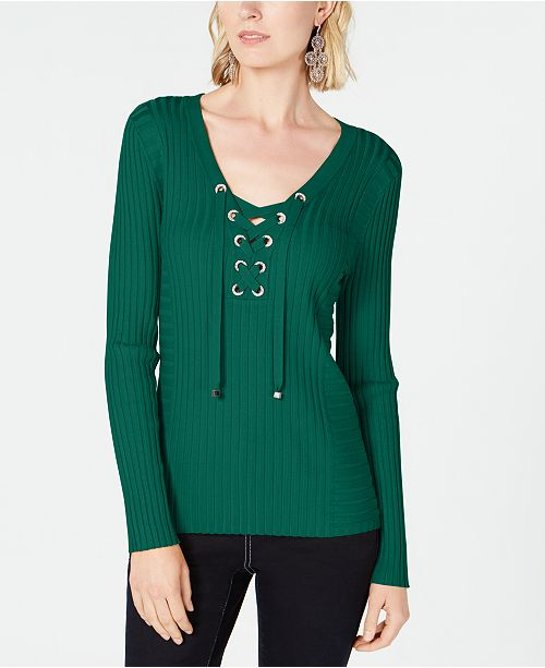 INC International Concepts INC Ribbed Rhinestone Grommet Sweater, Created for Macy's