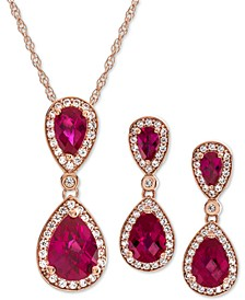 2-Pc. Set Lab-Created Emerald (3 ct. t.w.) & White Sapphire (5/8 ct. t.w.) Pendant Necklace & Matching Drop Earrings in 14k Rose Gold-Plated Sterling Silver(Also Available in Sapphire, Opal, & Ruby)