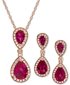 2-Pc. Set Lab-Created Ruby (4-1/2 ct. t.w.) & White Sapphire (5/8 ct. t.w.) Pendant Necklace & Matching Drop Earrings in 14k Rose Gold-Plated Sterling Silver