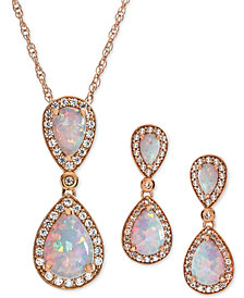 2-Pc. Set Lab-Created Opal (2-1/6 ct. t.w.) & White Sapphire (5/8 ct. t.w.) Pendant Necklace & Matching Drop Earrings in 14k Rose Gold-Plated Sterling Silver