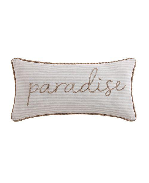 "Oceanfront Resort Tropical Plantation Woven Stripe 32"" x 16"" Bolster Pillow"