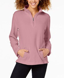 Karen Scott Petite Zip-Neck Top, Created For Macy's