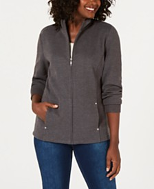 Karen Scott Petite Mock-Neck Jacket, Created for Macy's