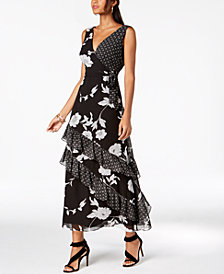 I.N.C. Ruffled Mixed-Print Maxi Dress, Created for Macy's