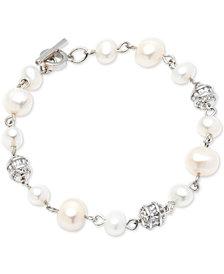 Carolee Silver-Tone Crystal Bead & Freshwater Pearl (6-8mm) Link Bracelet