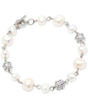 Silver-Tone Crystal Bead & Freshwater Pearl (6-8Mm) Link Bracelet, White