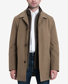 London Fog Men's Bern Long Car Coat with Bib