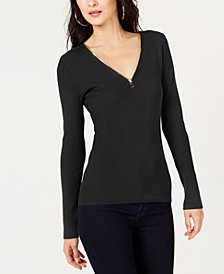 I.N.C. Petite Zipper Detail Pullover Sweater, Created for Macy's