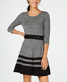 BCX Juniors' Button-Waist Fit & Flare Sweater Dress