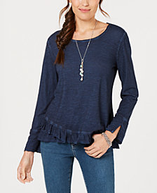 Style & Co Ruffled-Hem T-Shirt, Created for Macy's
