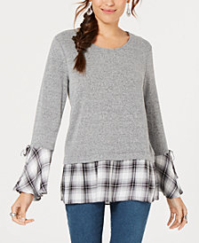 Style & Co Layered-Look Plaid-Trim Top, Created for Macy's