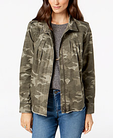 Style & Co Cotton Camouflage-Print Jacket, Created for Macy's