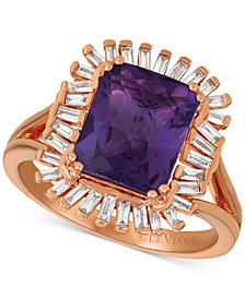 Le Vian® Deep Sea Blue Topaz™ (3-1/3 ct. t.w.) & Diamond (1/3 c.t. t.w.) Ring in 14k Rose Gold (Also available in Amethyst)