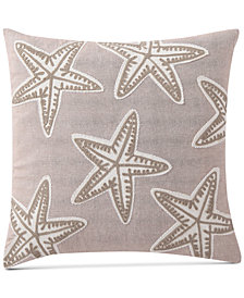 "VCNY Home Starfish Embroidered 18"" Square Decorative Pillow"
