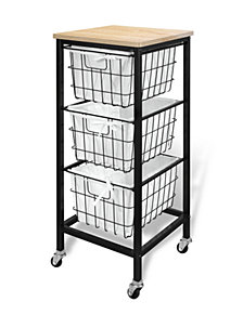 3-Drawer Wire Storage Cart